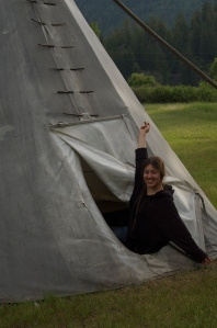 A fresh morning happy Rose awaken from her night in the tipi!